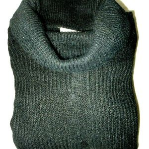 Silk Angora Pullover Black Long Sleeve Sweater